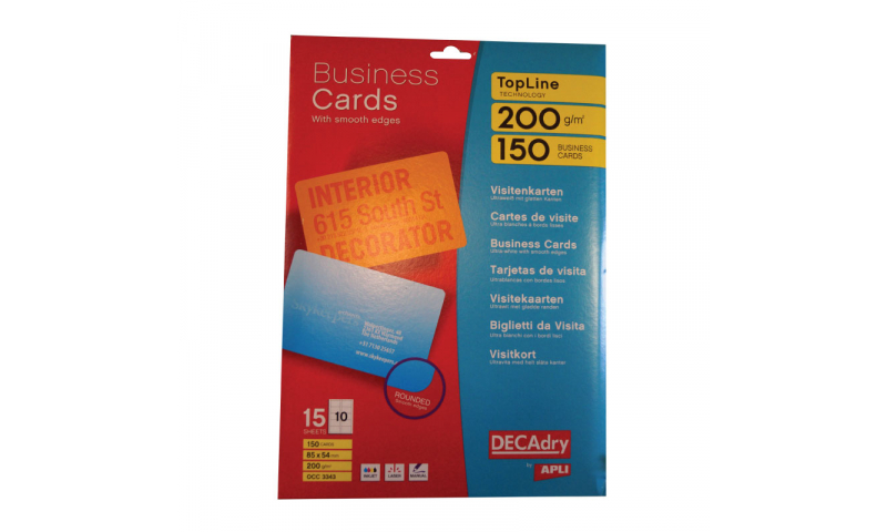 Decadry 200gsm White Business Cards 10 per  Sheet- 15 Sheets Smooth Round Edges. (New Lower Price for 2021)