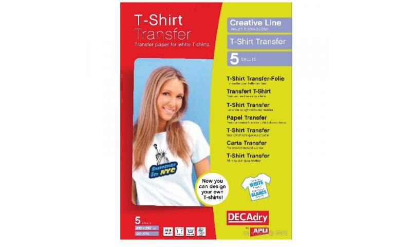 DECADRY T-Shirt Transfer Film 5 Sheets White Fabrics