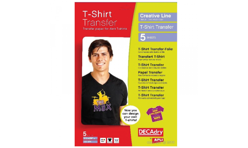 DECADRY T-Shirt Transfer Film 5 Sheets Dark Fabrics