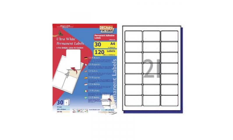 DECAdry White Multipurpose Labels 30 sheet pk 63.5 x 38.1mm 21 per Sheet