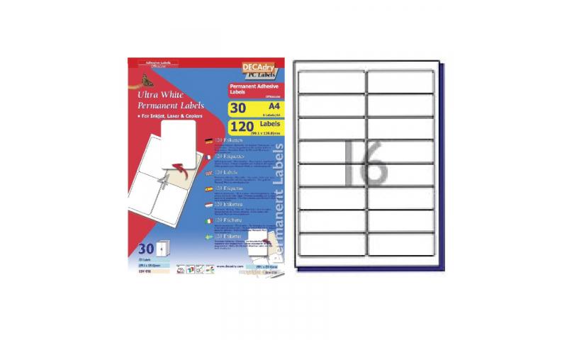DECAdry White Multipurpose Labels 30 sheet pk 99.1 x 34mm 16 per Sheet