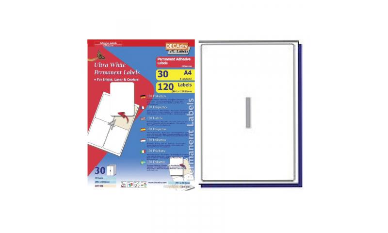 DecAdry White Multipurpose Labels 30 sheet pk 199.6 x 289.1mm 1 per Sheet
