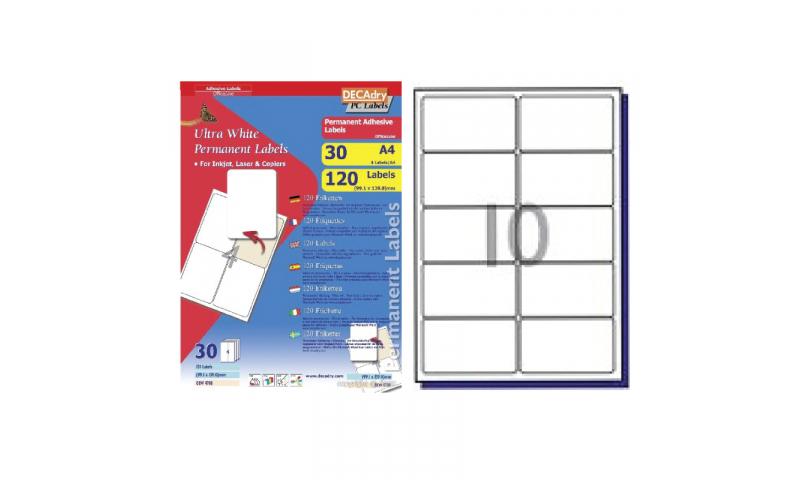 DecAdry White Multipurpose Labels 30 sheet pk 99.1 x 57mm 10 per Sheet