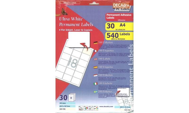 DECAdry White Multipurpose Labels 30 sheet pk 63.5 x 46.5mm 18 per Sheet