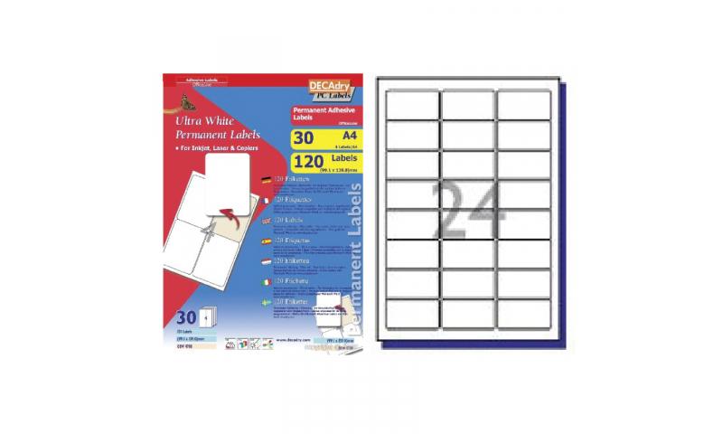 DECAdry White Multipurpose Labels 30 sheet pk 63.5 x 33.9mm 24 per Sheet