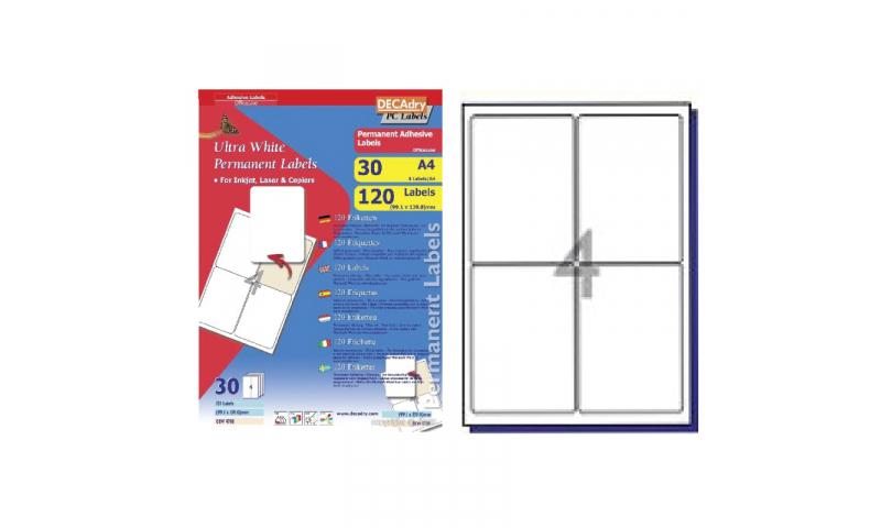 DecAdry White Multipurpose Labels 30 sheet pk 99.1 x 139mm 4 per Sheet