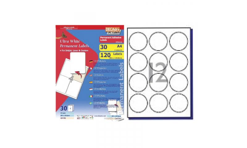 DecAdry White Multipurpose Labels 30 sheet pk  60mm Diameter Circles 12 per Sheet
