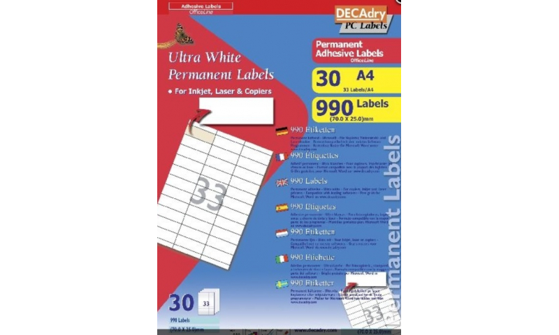 Decadry Die Cut White Multipurpose Labels 33 per Sheet, 30 Sheet Pack, Butt Cut