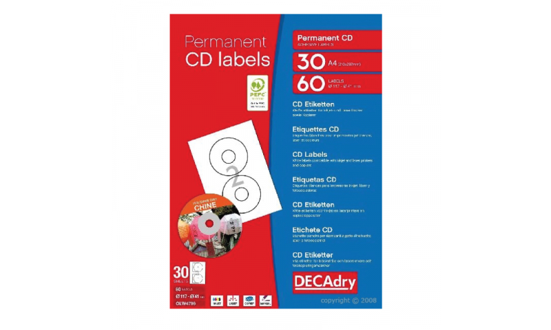 DECADRY Ultra White CD Labels 60 Per Pack (New Lower Price for 2021)