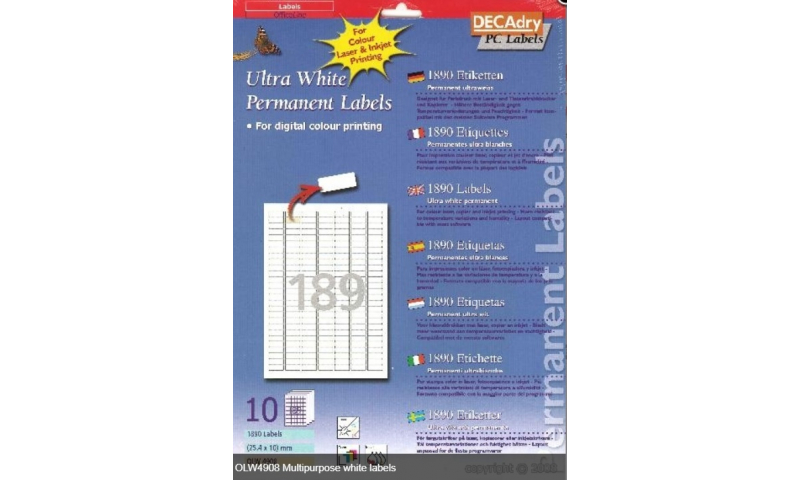 Decadry Die Cut White Multipurpose Labels 189 per Sheet, 10 Sheet Pack