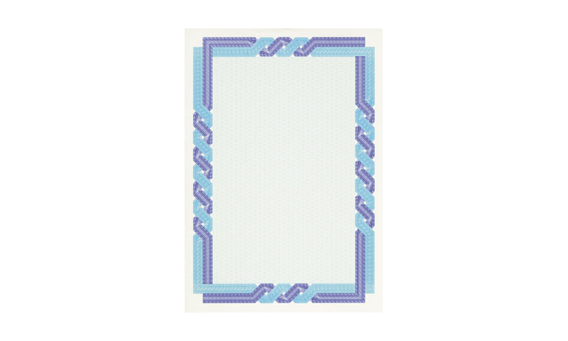 Decadry A4 Certificate Sheets Cream with Blue Border 25pk (New Lower Price for 2021)
