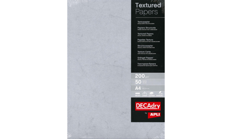 Decadry A4 Textured Paper 200gsm, 50 Sheet Pack, Grey. (New Lower Price for 2021)