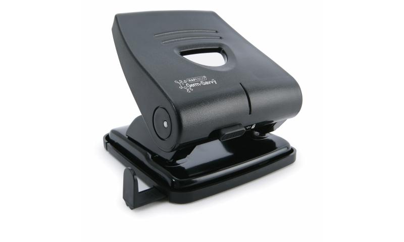 Rapesco 827 2 Hole H-Duty Perforator, 30 sheet, Black with GERM SAVVY
