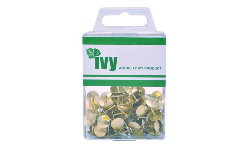 IVY Hang Tidy Box Drawing Pins Brass 9.5mm, 100pcs