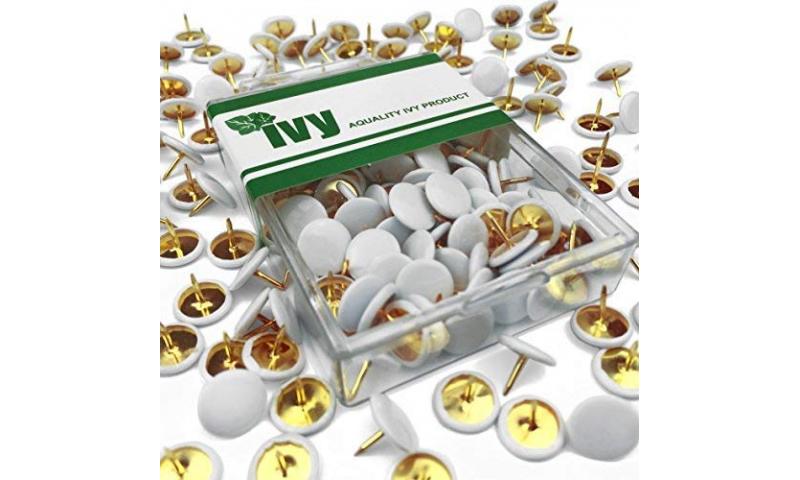 IVY Hang Tidy Box Drawing Pins White 9.5mm,  100pcs