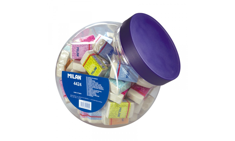 Milan 4424 Plastic Eraser in Candy Jar display  (New Lower Price for 2021)