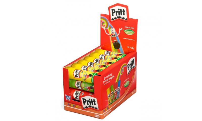Pritt Stick Medium 20g Rainbow Colours 4 asstd, Display Tray (New Lower Price for 2021)