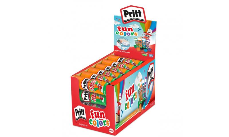 PRITT Glue Stick, Fun Colours Small 10g, 4 Asstd CDU Display