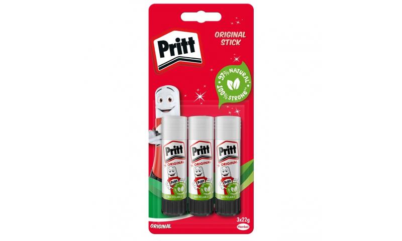 Pritt Stick Medium 22g, 3 Pack Blister Card (New Lower Price for 2021)