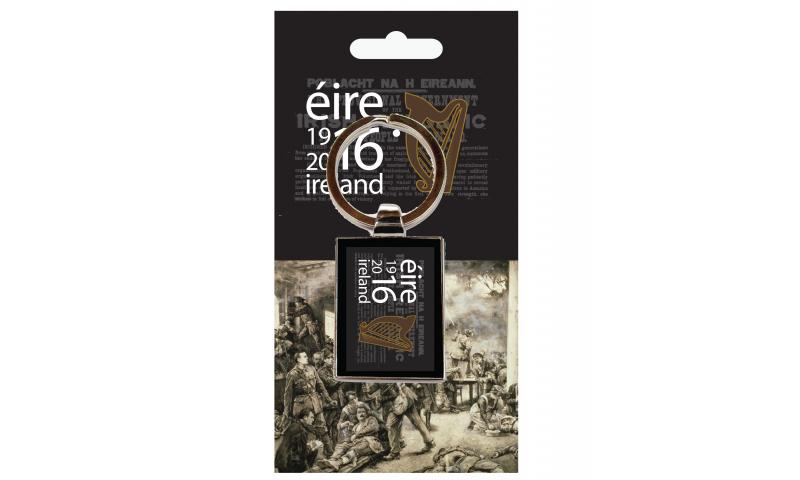 "Chromium Keyring on Headercard "" EIRE 1916-2016 Logo"""
