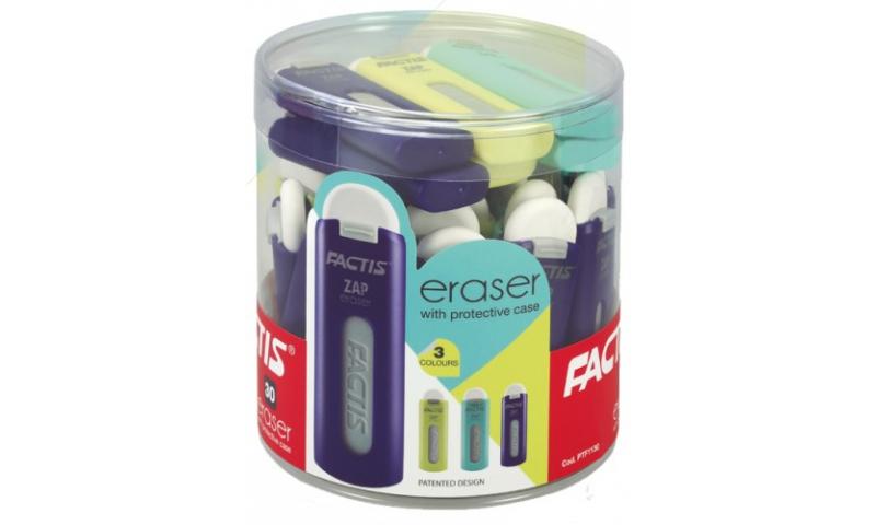 Factis Zip Eraser in Protective Case 3 Asstd, (New Lower Price for 2021)