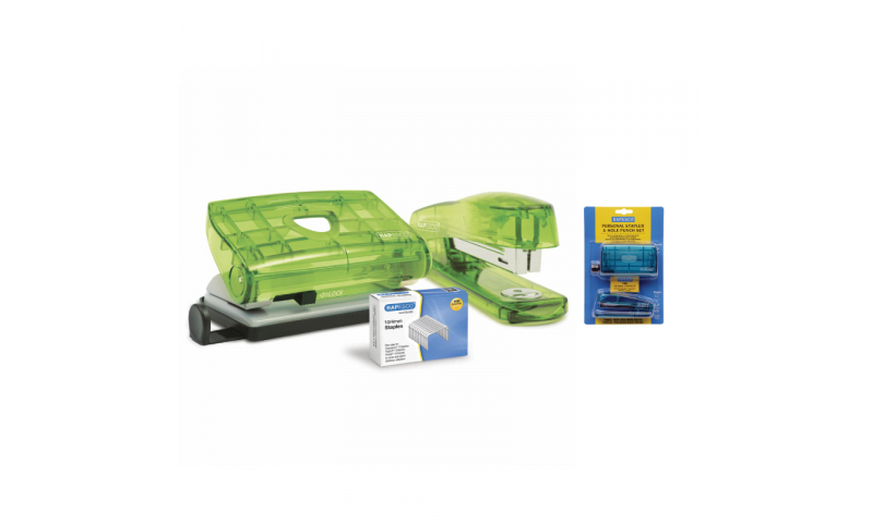 Rapesco Klippa 10/4 Stapler & Perforator set Asstd Translucent colours
