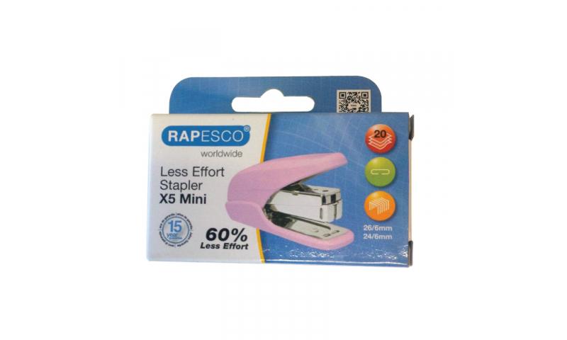 Rapesco X5 Mini Less effort Stapler, 20 sheet, Pink