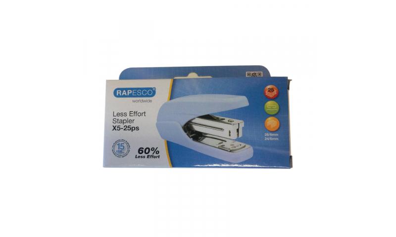 Rapesco X5 25 Less Effort Desk Stapler, 25 sheet, Baby Blue
