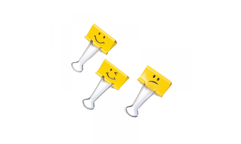 Rapesco Emoji Foldback Clips 32mm Yellow, Box of 20