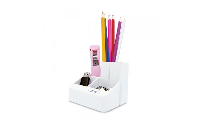 Rapesco White Acrylic Desk Organiser, Tube Tidy