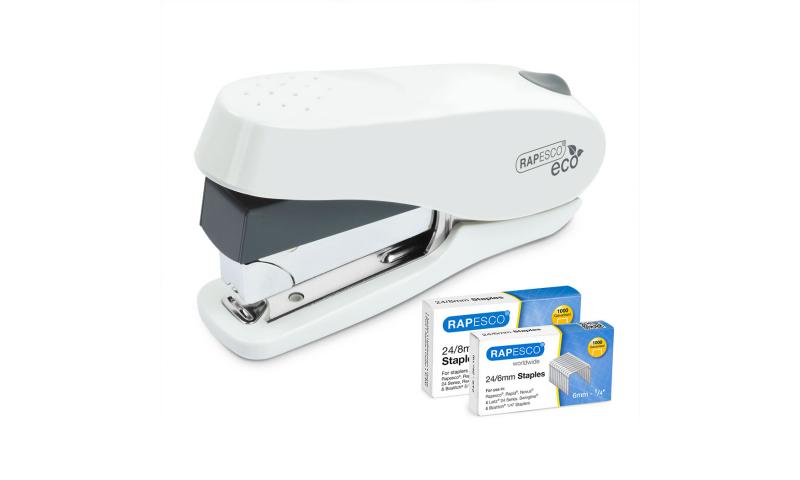 Rapesco Luna 50 Sheet Less Effort Stapler, Front load - White (incl. 2000 FREE Staples 24/6 & 24/8
