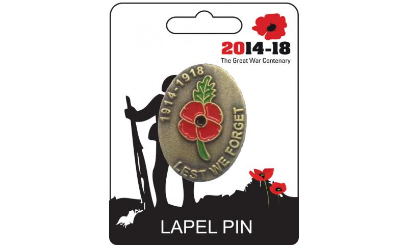 Remembrance Lapel Pin - Poppy 1914-1918 Design
