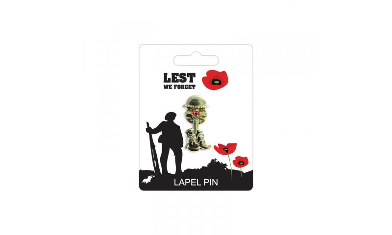 Remembrance Lapel Pin - Boots Helmet & Cross Design