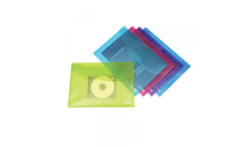 Rapesco Popper Wallets w. CD pocket Pk5 Bright