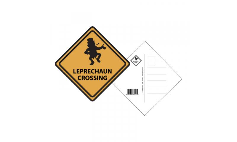Roadsign Postcard- Leprechaun Crossing