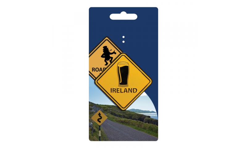 Roadsign Magnet on Headercard - Irish Pint