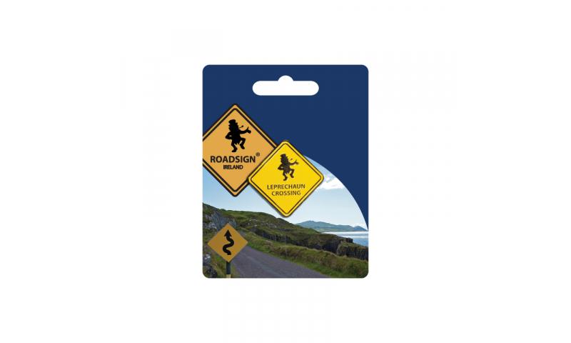 Roadsign Lapel Pin on Headercard - Leprechaun Crossing