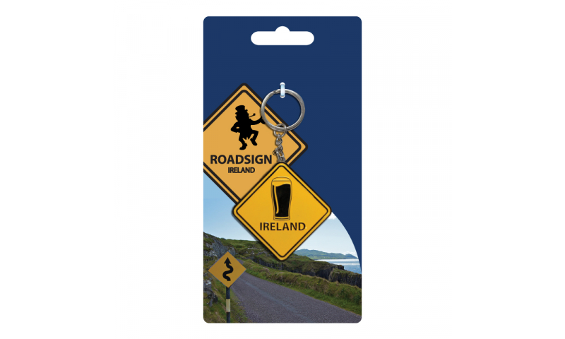 Roadsign Keyring on Headercard - Irish Pint