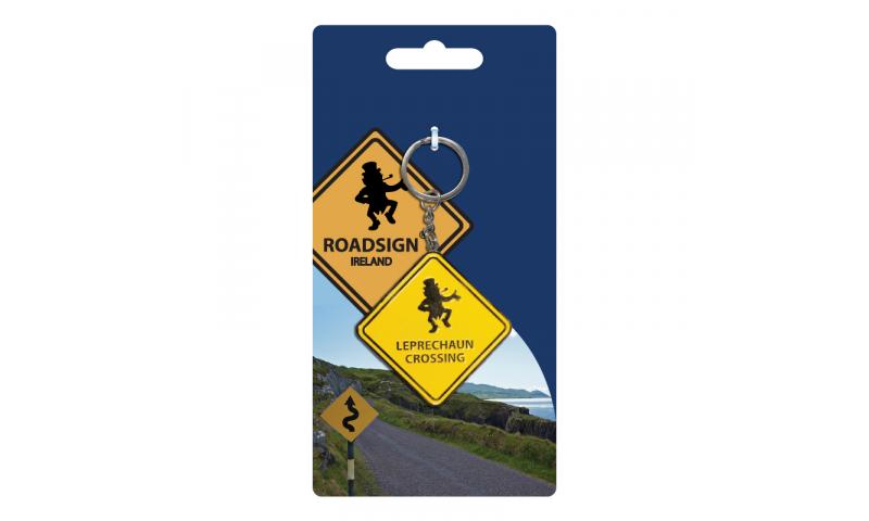 Roadsign Keyring on Headercard - Leprechaun Crossing