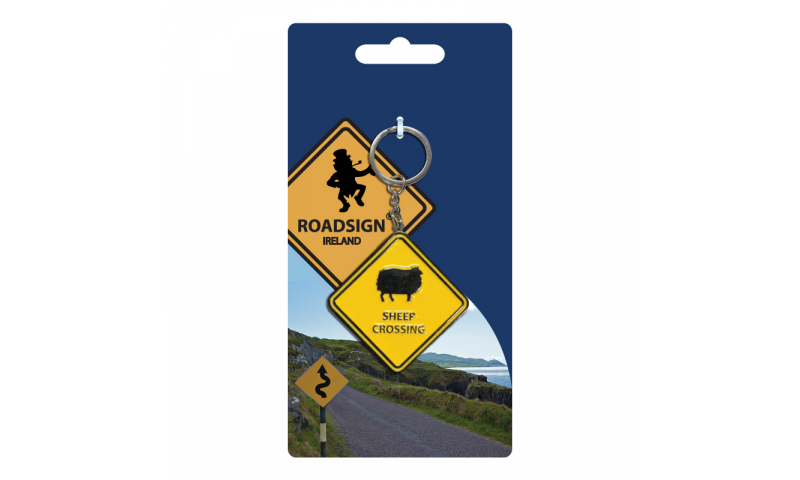 Roadsign Keyring on Headercard - Sheep Crossing