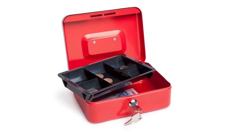 """Rapesco 12"""" 300mm Locking Steel Cash Box, Asstd"""