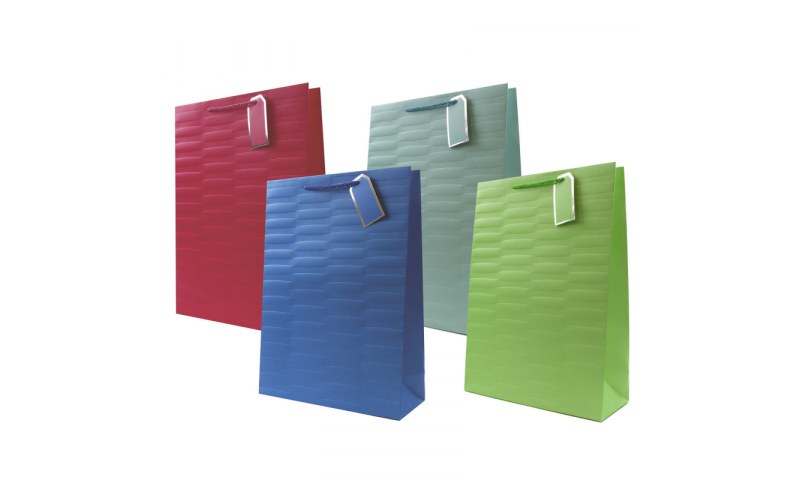 Just to say Embossed Brights Gift Bag, Rope handles and Tag, Ex-Large - 440 x 320x 110mm.
