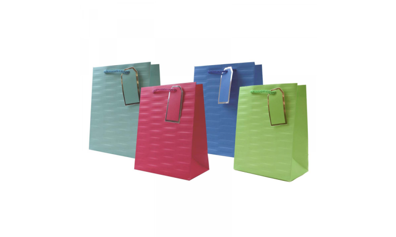 Just to say Embossed Brights Gift Bag, Rope handles and Tag, Medium - 230 x 180x 100mm.