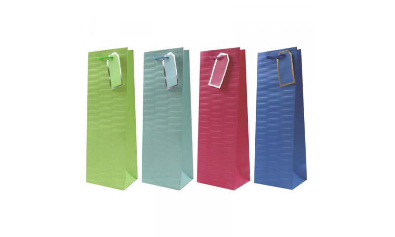 Just to say Embossed Brights Gift Bag, Rope handles and Tag, Bottle size.