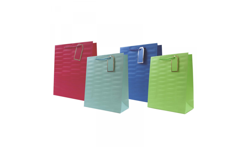 Just to say Embossed Brights Gift Bag, Rope handles and Tag, Large - 260 x 320x 120mm.