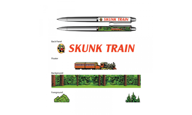 Bespoke Railway Design Active Floating Ballpen with Moving Train