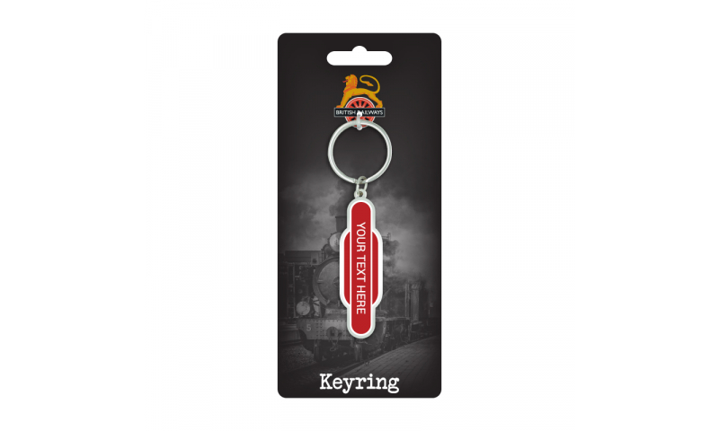 Totem Pole Railway Station Metal Keyring ( Add your Station Text )  on Railway Headercard