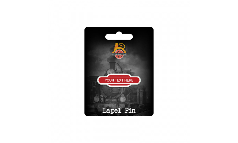 Totem Pole Railway Station Metal Lapel Pin ( Add your Station Text )  on Railway Headercard