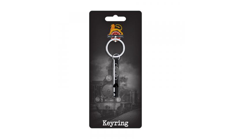 Metal Keyring Whistle with 1 Colour Bespoke Print  on Railway Headercard
