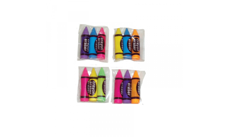 Novelty Crayon Shaped Erasers 3 Pack (New Lower Price for 2021)